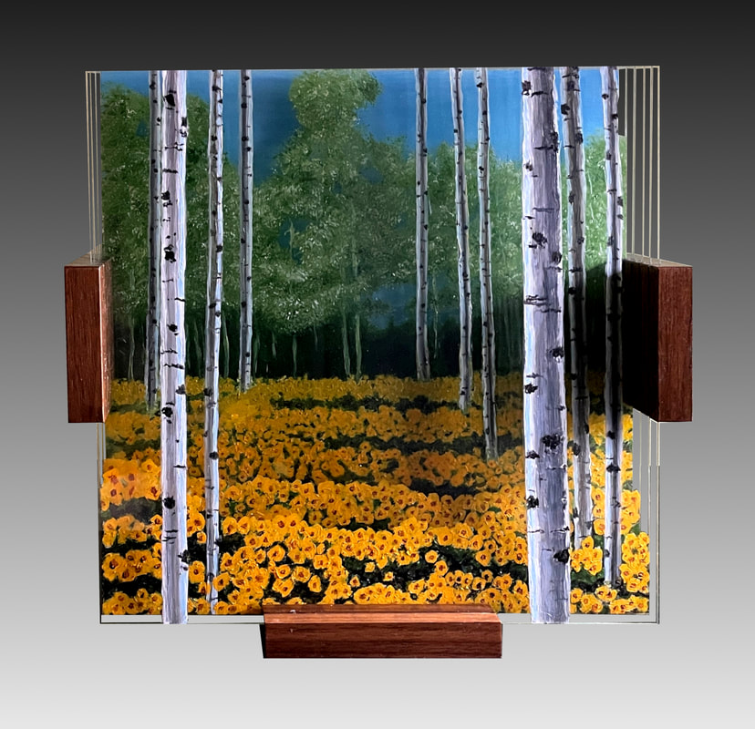 Solitude painted layered glass sculptures